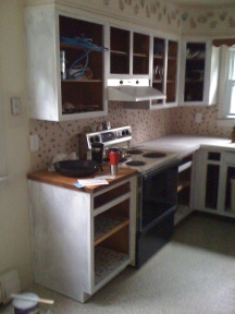 Kitchen before (with cabinets primed)